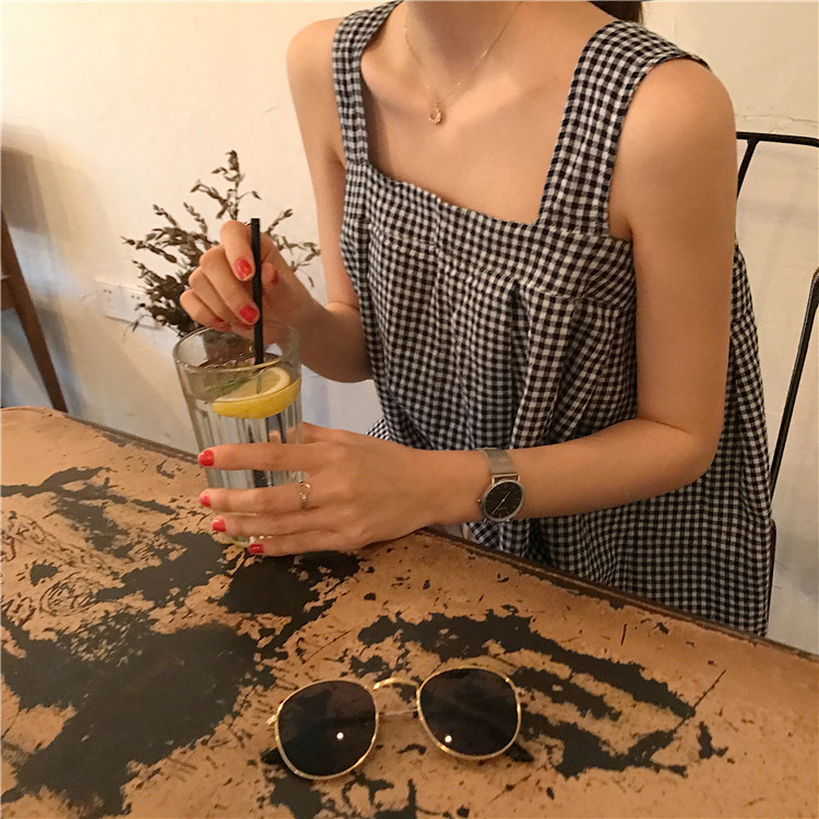 Lychee Girls Sexy Plaid Lace Up Backless Summer Women Tank Top Sleeveless Casual Loose Camis Tops For Woman Y19042801