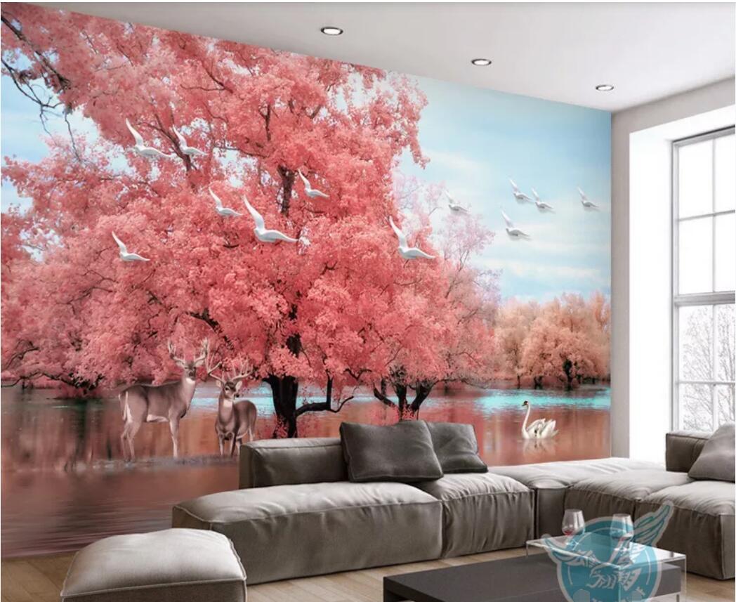 Discount Korean Wallpaper Pink Bedroom