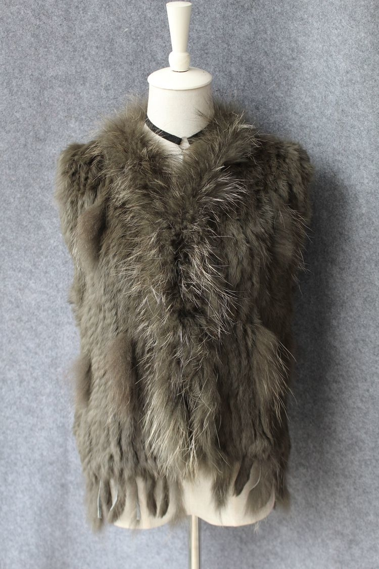 genuine real rabbit fur vest with raccoon fur collar (38)