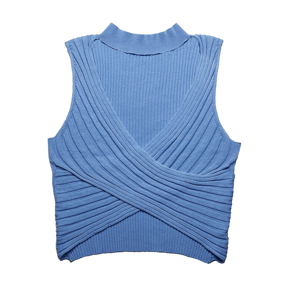 Women's Sexy Halter Knitted Short Vest Tops European And American 2019 Summer Women Clothes Girls Sleeveless Slim Tanks Top Y190509