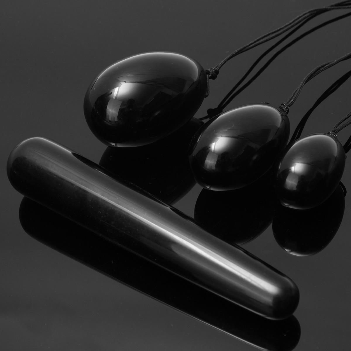 3 unids Negro De Cristal De Cuarzo Yoni Huevos Con Cuerda Masaje Varitas Huevos De Jade Bola Para Mujer Ejercicio Vaginal Muscular Herramienta De Cuidado De La Salud