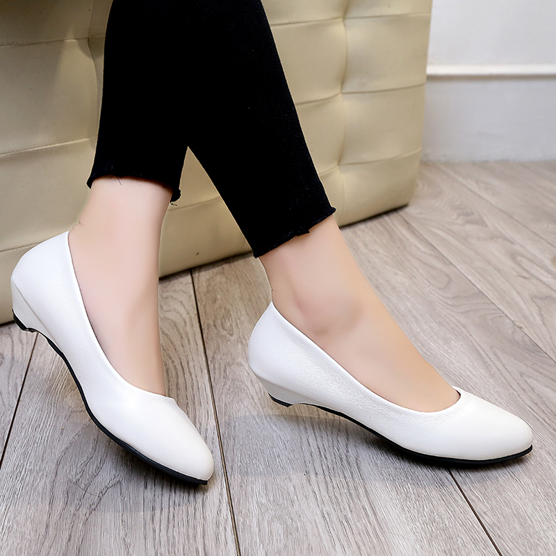 Designer Dress Shoes Spring Autumn Woman Wedding Low Heels For Women Boat Leather Black Slip on zapatos mujer 61h53