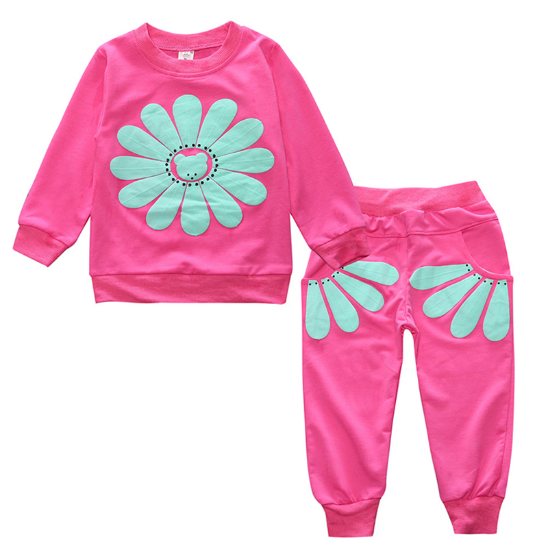 2018 spring autumn little girl clothes kid outfits red long sleeve T-shirt tops sun flower+pant baby girl casual 2PCS suit set