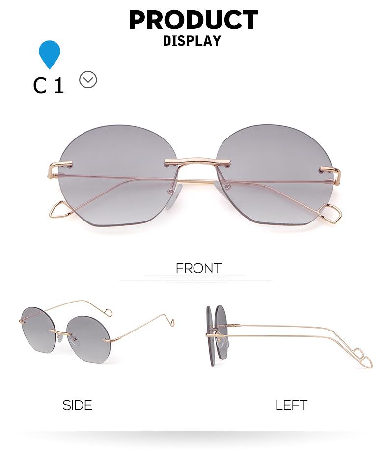 f0d7ec5428de8 wholesale Vintage Rimless Crystal Round Sunglasses Women Luxury Brand  Designer Retro Blue Pink Circle Rave Sun Glasses Shades P251. 1 1-1 2 2 5 2  6 4 1 ...