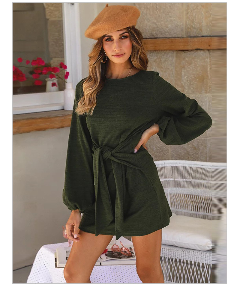Casual Solid Sashes Dress Women Autumn Long Sleeve O Neck Bodycon Mini Party Dresses Short Vestido Vintage Mujer Elegante (13)