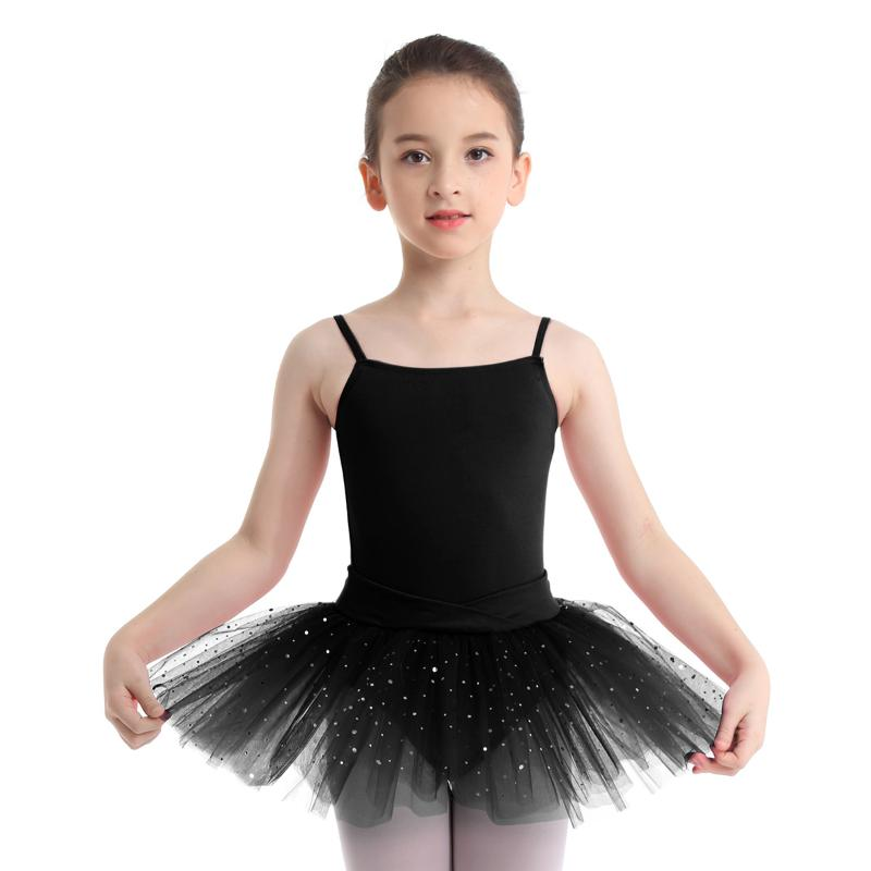 UK Kids Girl Ballet Shiny Tutu Dance Dress Gymnastics Metallic Leotard Dancewear