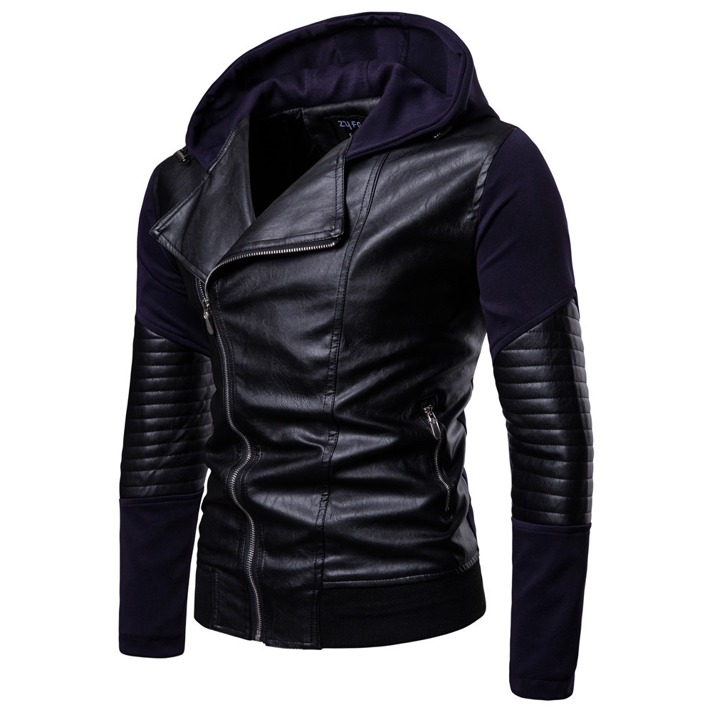 New Mens Genuine Lambskin Leather Slim Fit Biker Motorcycle Jacket for Men P009