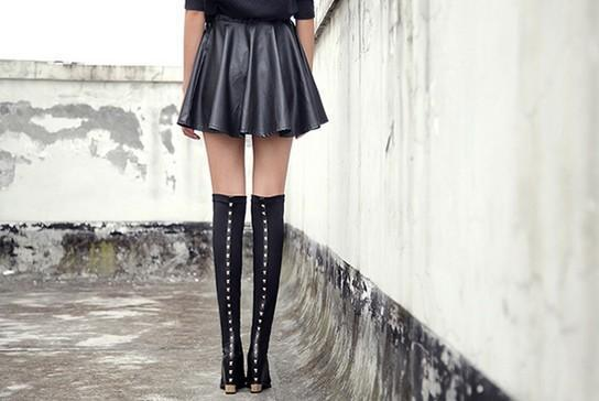 overseas2019 Quality! B075 34 Leather Stud Wedge Thigh Boots Vogue Runway
