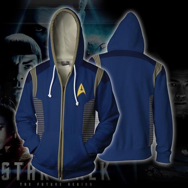 Star Trek Voyager Commander Captain Zipper Sweatshirt Costume Men Hoodies Jacket