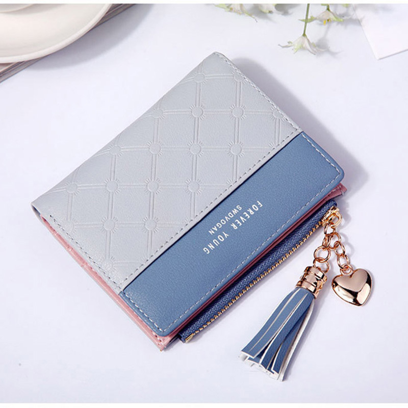 Women Wallet Female Short Paragraph Coin Purse Color Wallet Women Small Fold Wallets Tassel Zipper Button Bag Credit Card Holder (2)