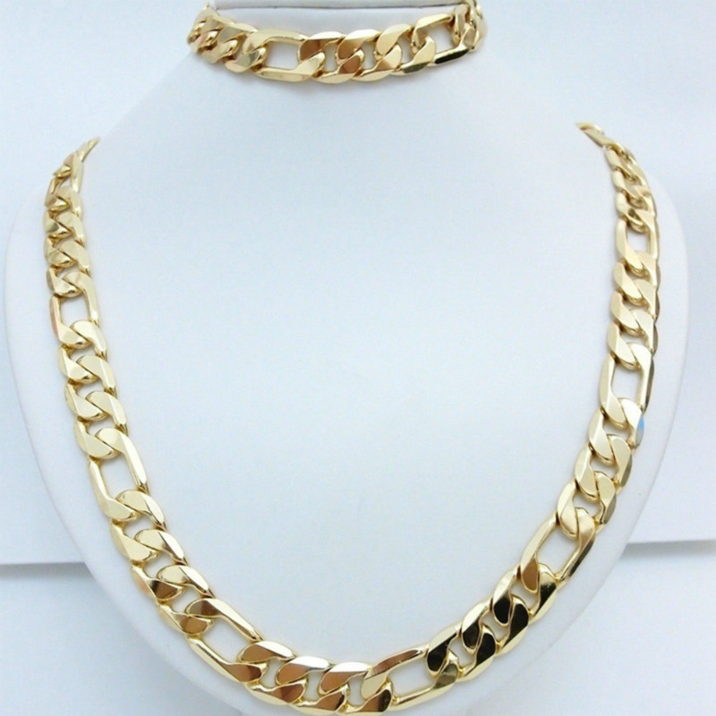 Statement Jewelry 24K Yellow Gold Filled Men's Necklace +Bracelet Set Figaro Curb Chain 20''/22''/24''26''