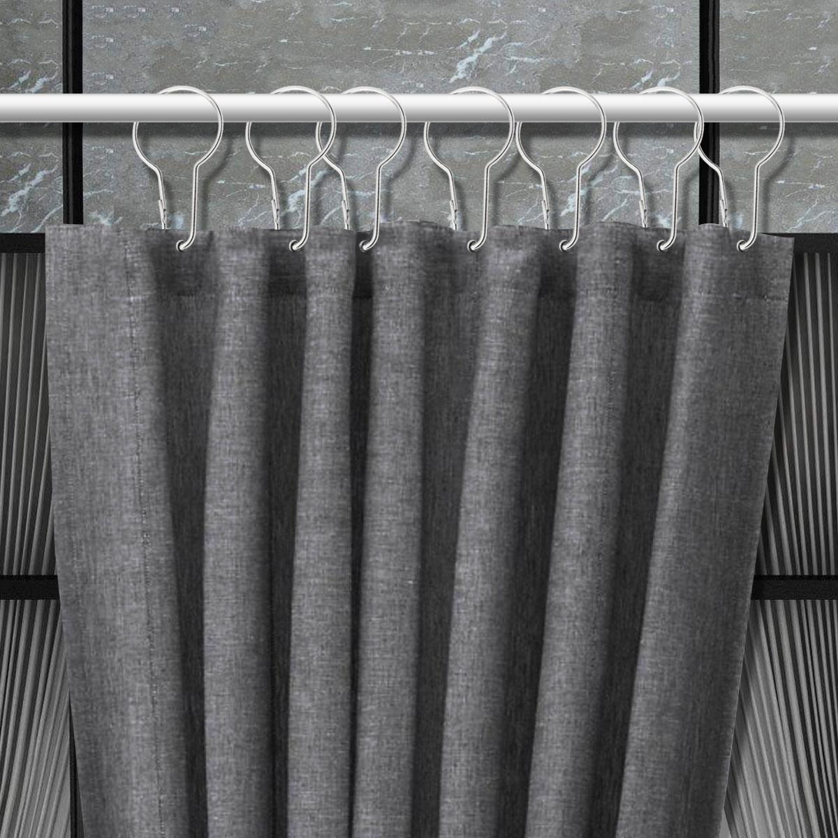 Acier Inoxydable Rideau de Douche Anneaux Crochets 12 Ensemble de salle de bain polonais Rod s!