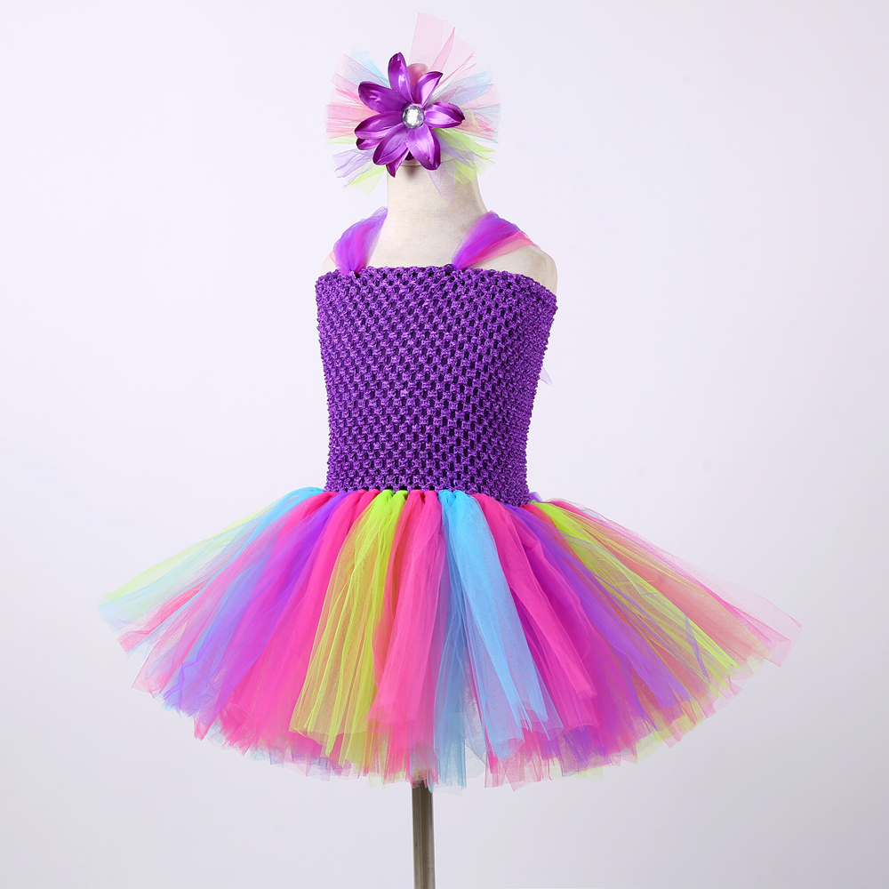 1 Unidades Girls Rainbow Fairy Tutu Dress With Wings Princess Kids Girl Party Dress Halloween Butterfly Cosplay Girls Fancy Costumes J190612