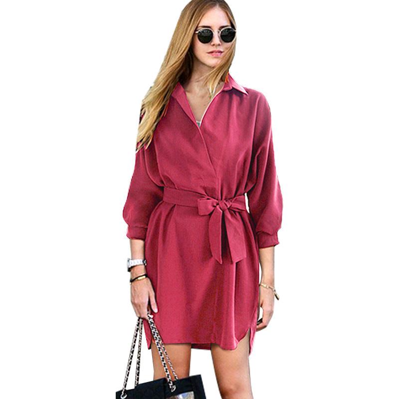 ZAFUL-Sexy-Fashion-Autumn-Women-Shirt-Dress-Green-Belt-V-Neck-Long-Sleeve-Vintage-Short-Mini