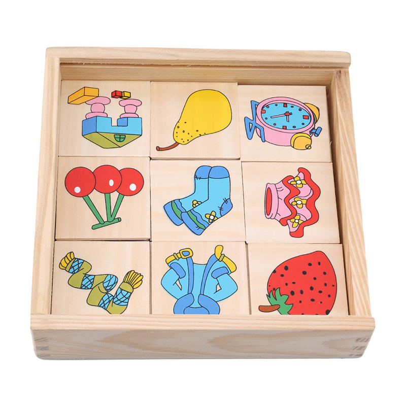 Montessori Enlightenment Teaching Wooden Puzzle Toy Graphics Corresponding Box Looking The Shadow Matching Game Card