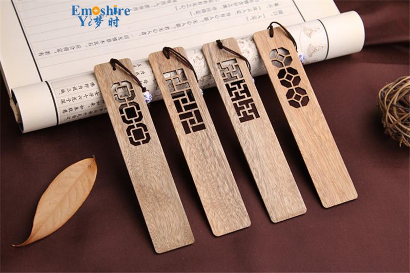 Emoshire High-grade solid wood bookmarks set of classical hollow Branch Tan gold silk Nanmu Chinese wind bookmarks custom custom TSQ04 (4)