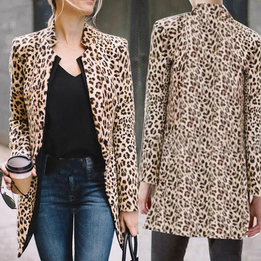 Women/'s Warm Jacket Long Sleeve Winter Coat Casual Leopard Print Cardigan Overcoat Casual Cute Ladies Hoodies Outwear