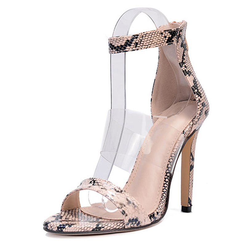 Großhandel LALA IKAI 2018 Schlange Muster High Heels Sandalen Sommer Transparent PVC Frauen Sandales Rom Knöchelriemen Femme Pumps 014C1058 49 Von