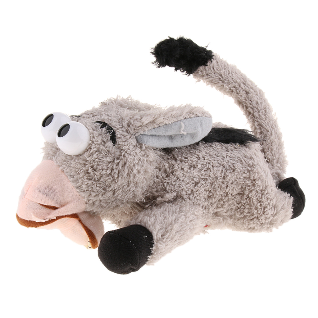 Kids Electric Donkey Stuffed Toys Inductive Hand Laughter Roll Interactive