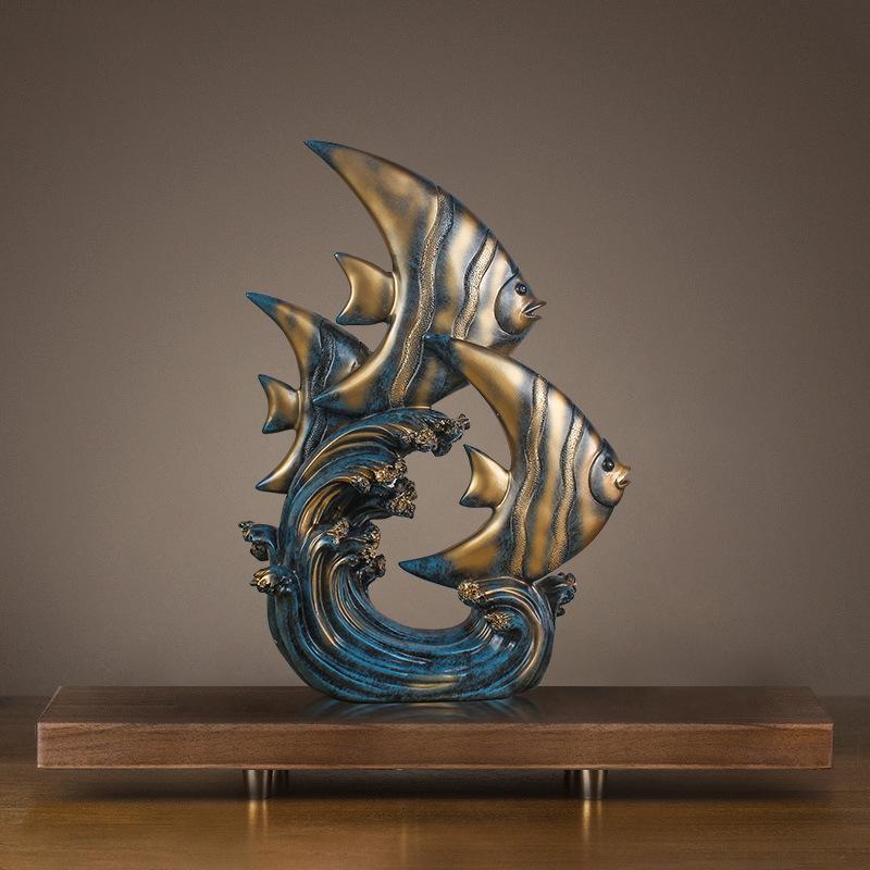 GOLD FISH BONE ORNAMENT IDEAL CENTRE PIECE MODERN GOLD CERAMIC FISH ORNAMENT