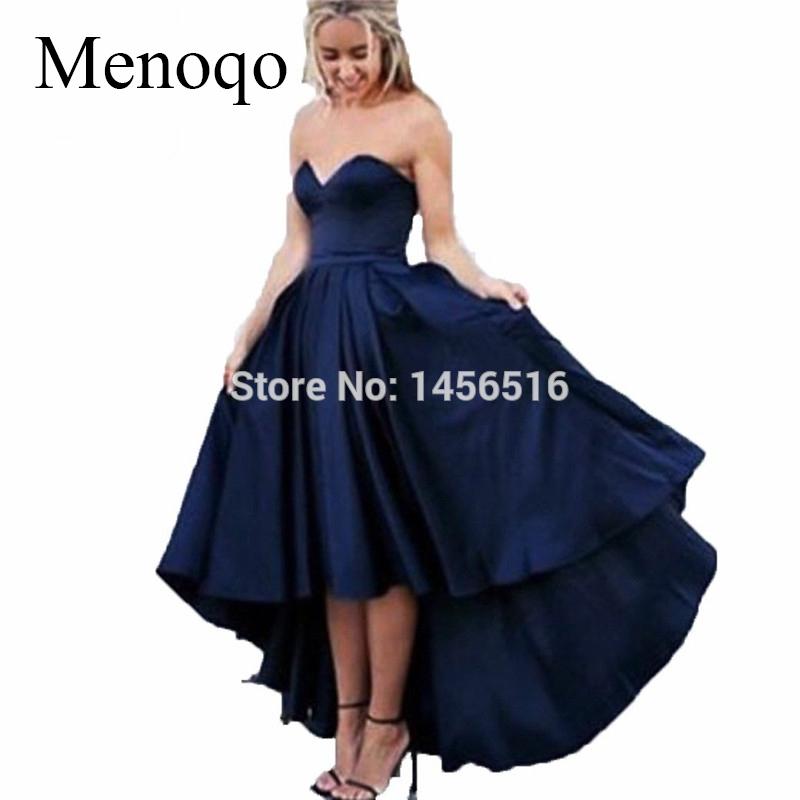 Compre 2019 Elegante Azul Marino Hi Lo Vestido Azul Marino Vestidos De Baile Vestido Largo De Novia Para Graduación Vestido De Fiesta De Noche A