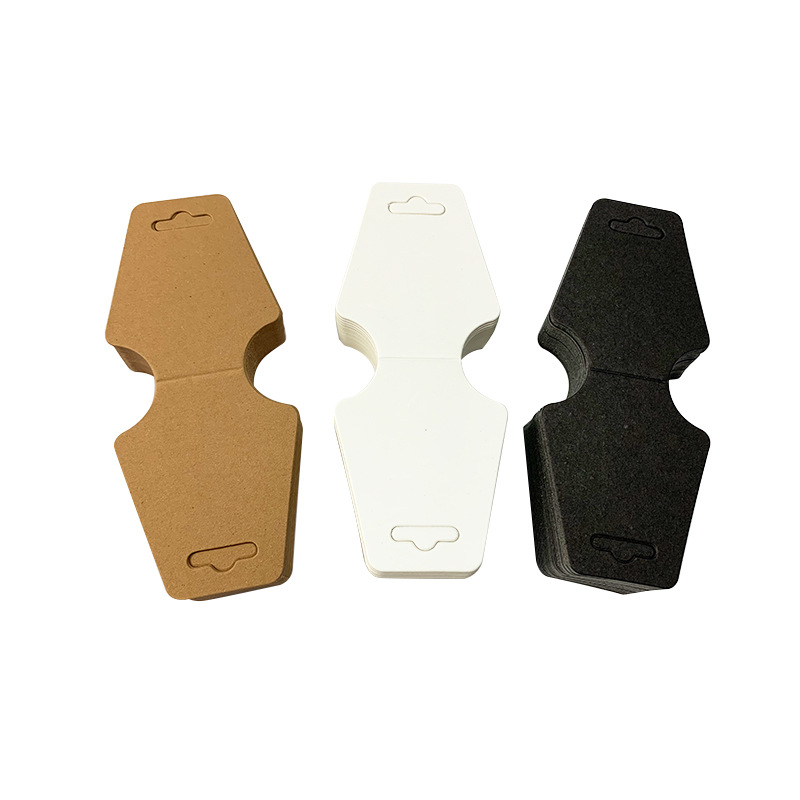 100PCS Marron Blanc Collier Boucles d/'oreilles en papier Kraft Bijoux Display Card 5 cm