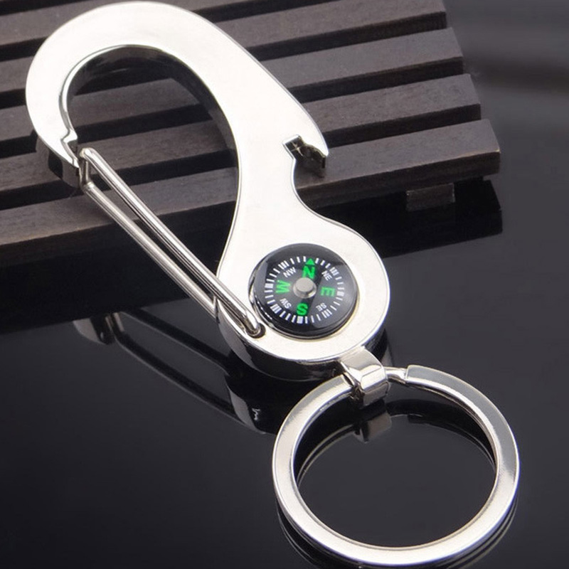 2in1 Outdoor Camping Hiking Compass Key Ring Snap Hook KeyChain Survival ToPRUK