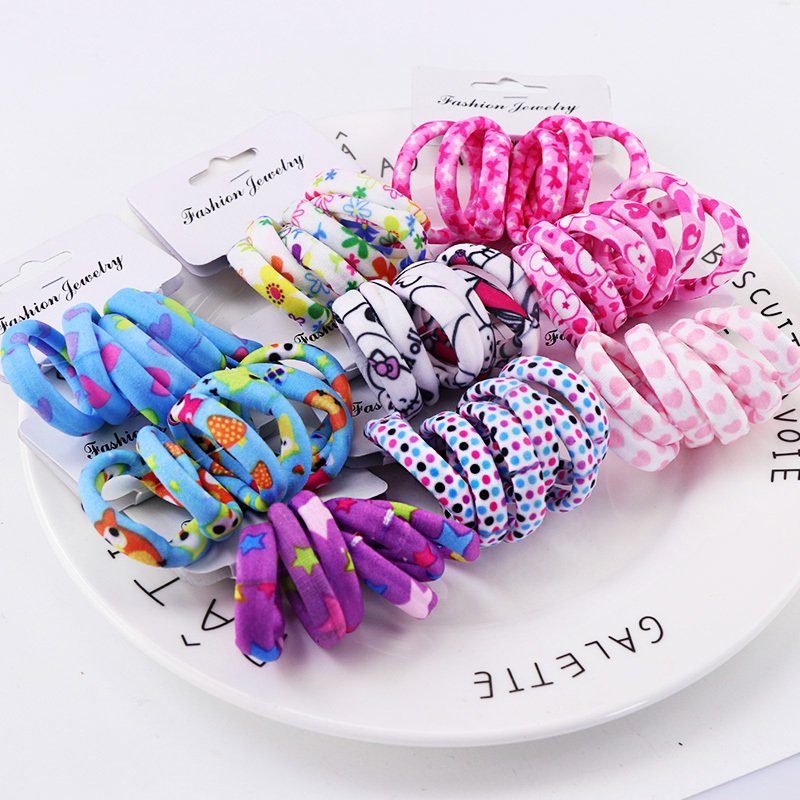 Hot Sale Girls Cute Color Hair Band Pink Print Dot Lovely Elastic Headband Good Quality Hair Holder Accessories Tie Gum