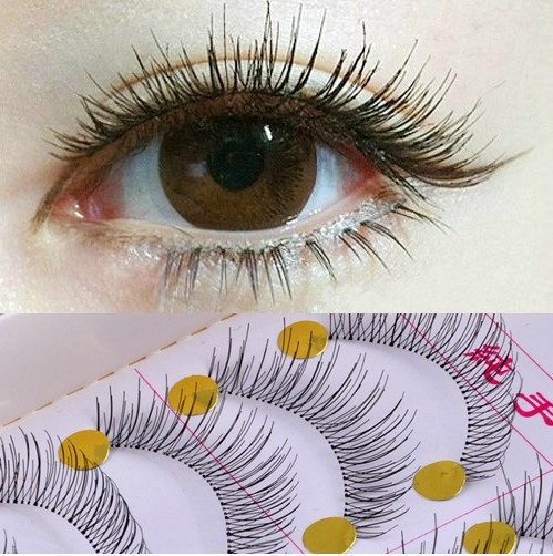 New-1set-10-Pairs-Handmade-Fake-False-Eyelash-Lashes-Natural-Transparent-Stem-Black-free-shipping-With