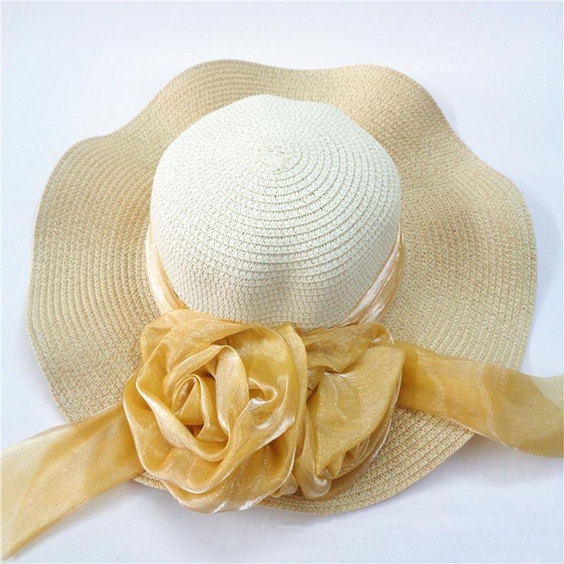 Fashion Straw Hat Flower Ribbon Summer Beach Wide Brim Fisherman Sunscreen Folding Hand Made Casual Wave Girls Hats CP0238 (3)