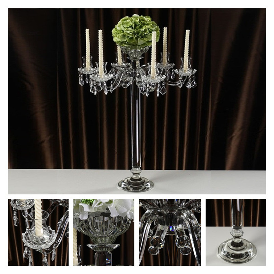 Clear 5-Arms Crystal Pillar Candle Holders Candlestick Wedding Decoration Stand Mariage Home Decor Candelabra for table centerpiece