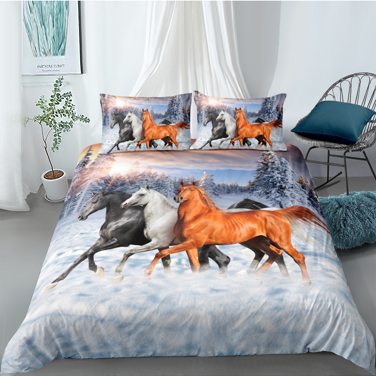 Snowy Horse Quilt Doona Duvet Cover Set by Just Home SINGLE DOUBLE QUEEN