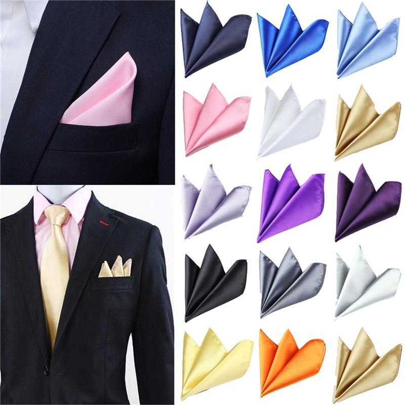 Men Solid Cotton Blazer Suit Pocket Square White Handkerchief Hankies Lots