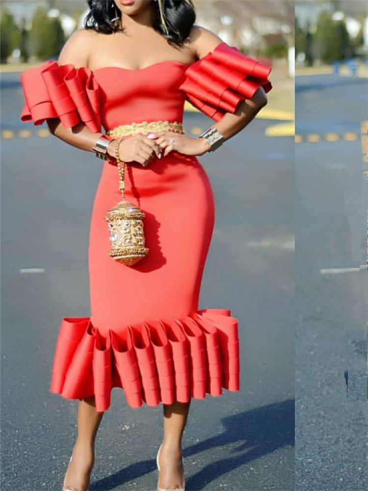 Women Bodycon Dress Off Shoulder Ruffles Pleat Sexy Party Clubwear Backless Dinner Evening Package Hip Tight Tunic Drop Shipping Y19052901