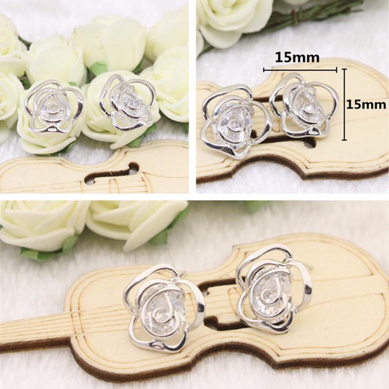 Hot Sale 925 Silver Stud Earrings Owl Bowknot Flower Cubic Zirconia Silver Earrings Jewelry For Women Party Anniversary