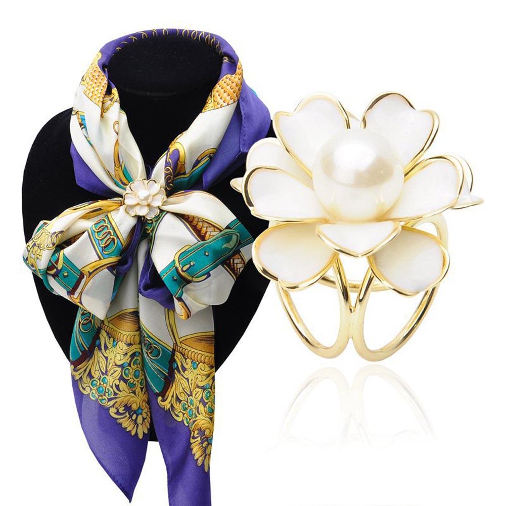 Femme Cristal Opale Camellia Fleur soie foulards Anneau Boucle tricycliques Boucle