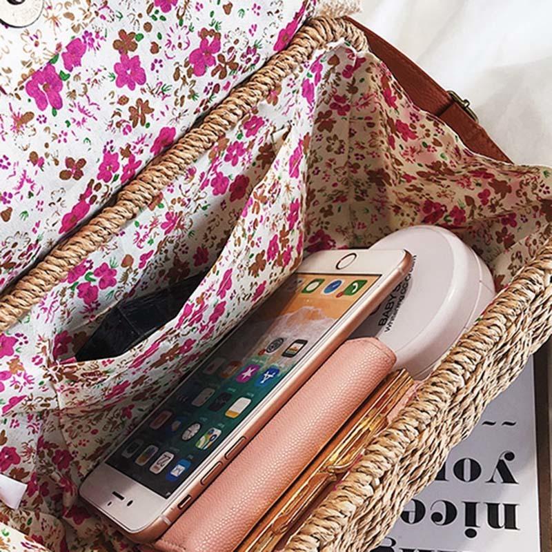 Women Lace Straw Bags INS Popular Female Holiday Handbag Summer Hot Lady Weave Shoulder Bag Travel Beach Casual Bolsa SS3150 (14)