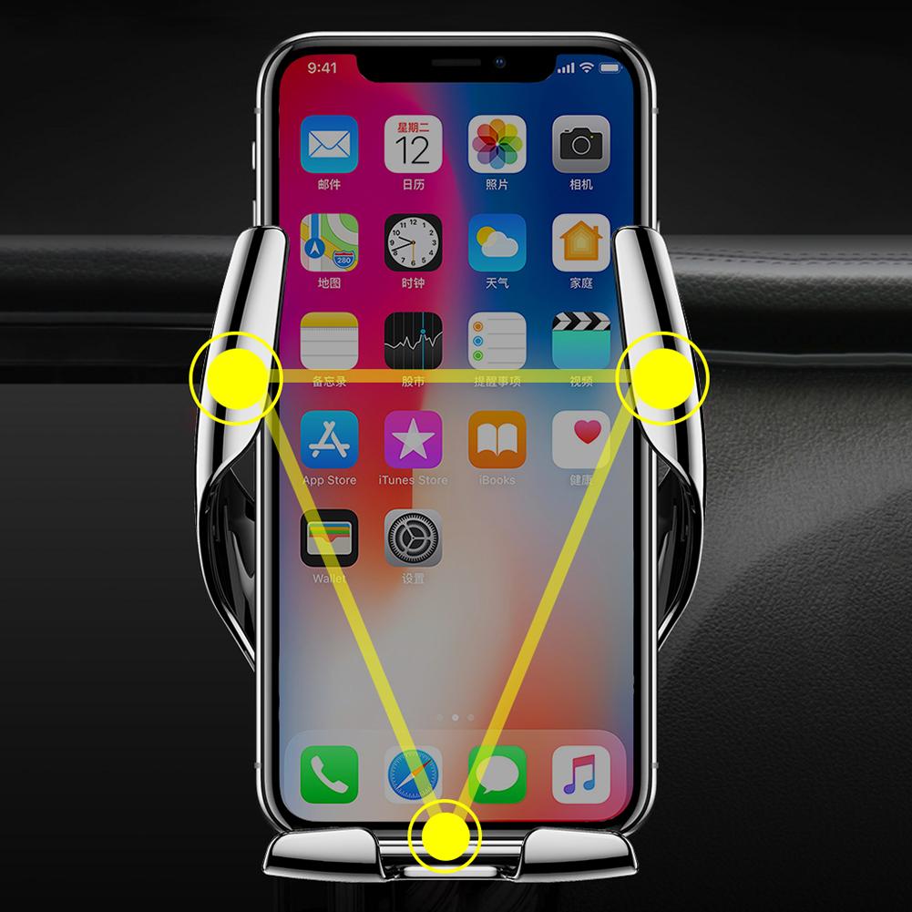 E5 Ци беспроводной Автомобильное зарядное устройство Автоматический зажим для зарядки Маунт 10Вт Быстрая зарядка мобильного телефона Воздуховод Автомобильный держатель для Huawei Samsung
