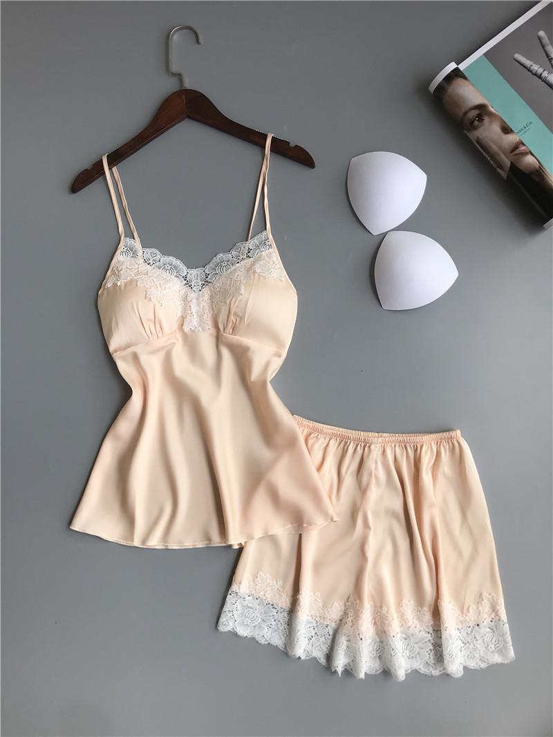 Queenral Pajama Sets For Women Summer Silk Satin Pijama Lingerie Sexy Pyjamas Women Nightie With Chest Pad Femme Pajama Shorts 12
