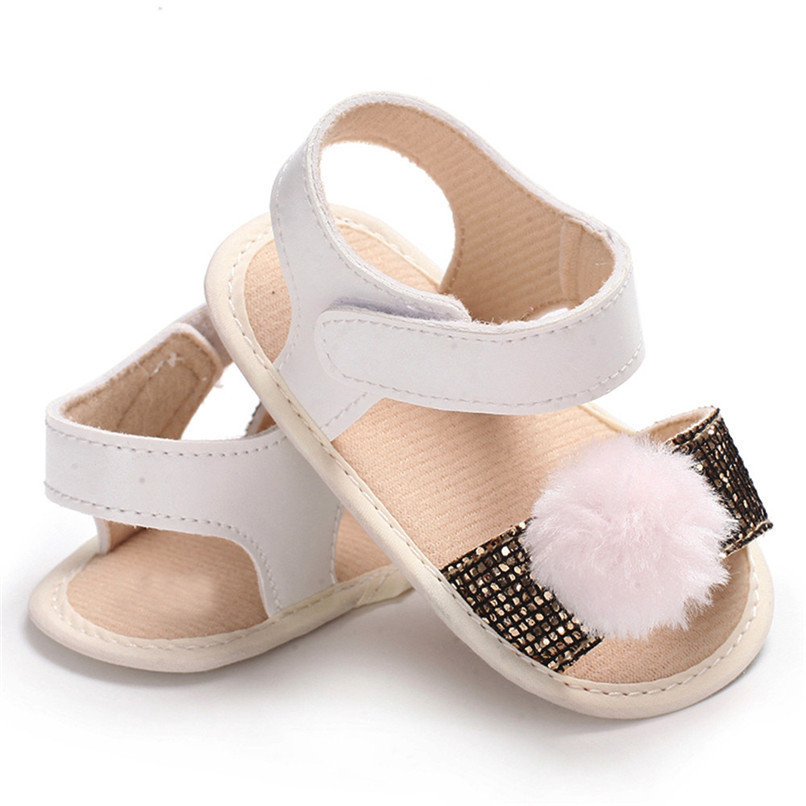 3 Color Summer Baby Girl Shoes Newborn Toddler Baby Girl Soft Ball Sequins Sandals Soft Sole Anti-slip Shoes Girl Sandals JE14#F (18)