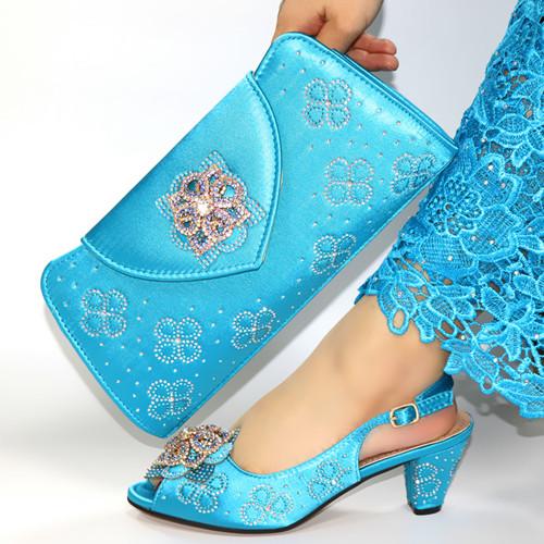 Italian Shoe and Bag Set New 2020 Women Shoes and Bag Set In Italy skyblue Color Italian Shoes with bags set!JN1-25