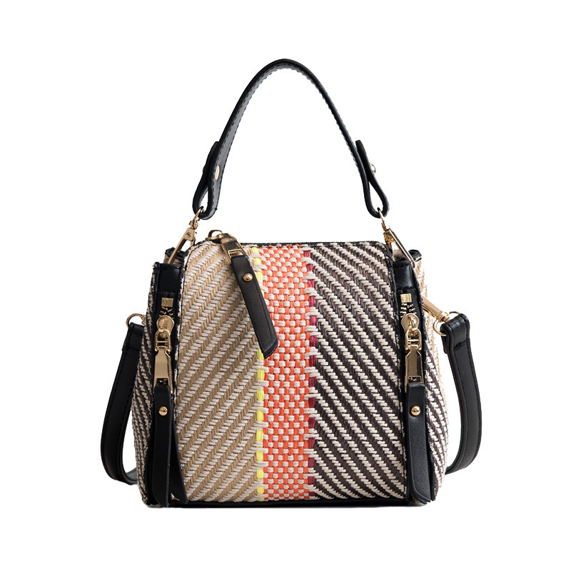 Hot Women Panelled Handbag INS Popular Female Casual Summer Straw Bags Lady Beach Shoulder Bag Fashion Travel Woven Tote SS7221 (12)