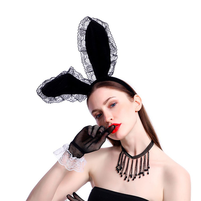 Trendy White Mesh Rabbit Bunny Ears Headband For Fancy Dress Costume Party