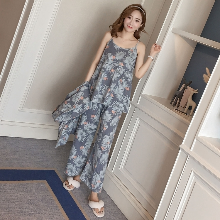 Cotton Robes Sets For Women Nuovo Autunno Inverno Moda manica lunga pigiama Femme Flower Print Accappatoio Homewear Home Clothing