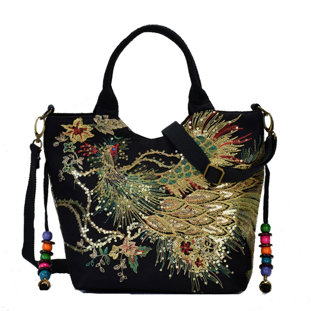 Shiny Sequins Peacock Canvas Women Handbag National Phoenix Embroidered Shoulder Totes Messenger Bag Crossbody Beach Travel Bag J190702