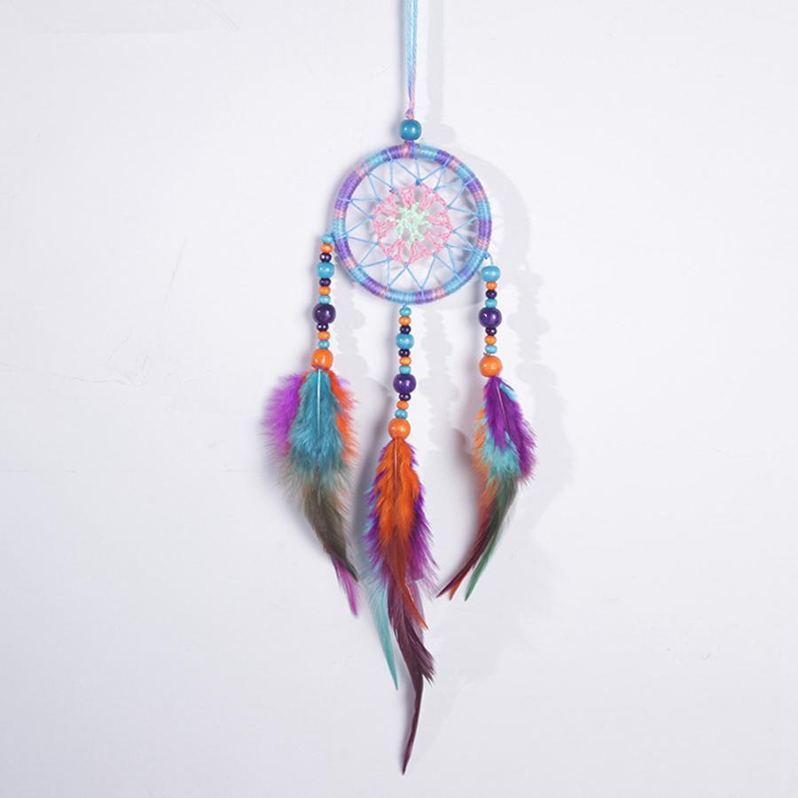 Handmade Dream Catcher Circular With Feather Wall Hanging Decor Ornament JFC