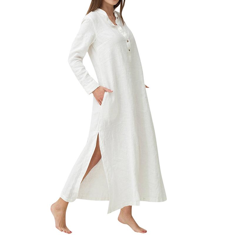 Women Vintage Maxi Sleeves Side Pockets 3xl 4xl 5xl Plus Size Gowns Cotton Shirt Robe Casual Long Dress Q190507