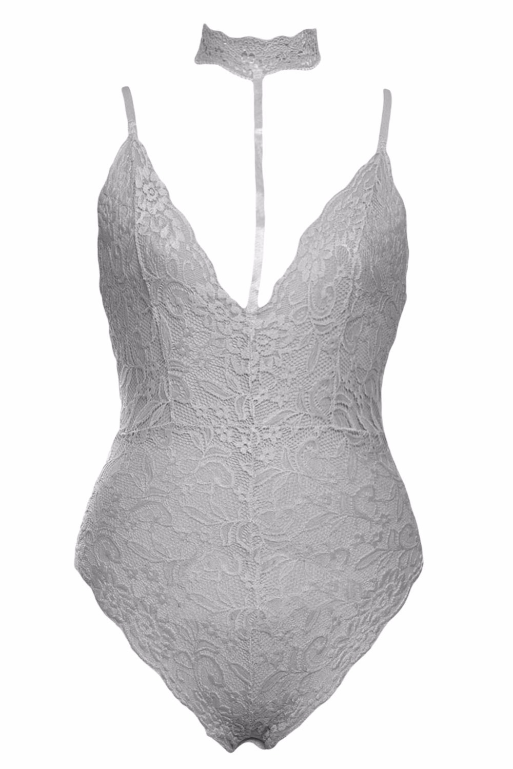 Grey-Sheer-Lace-Choker-Neck-Teddy-Lingerie-LC32139-11-2