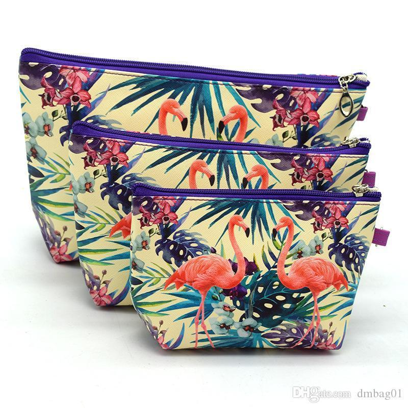 Crary2019 21 Styles Choose Print Flower And Unicorm Makeup Organizer Set Cosmetic Bag For Travel Toiletry Bags