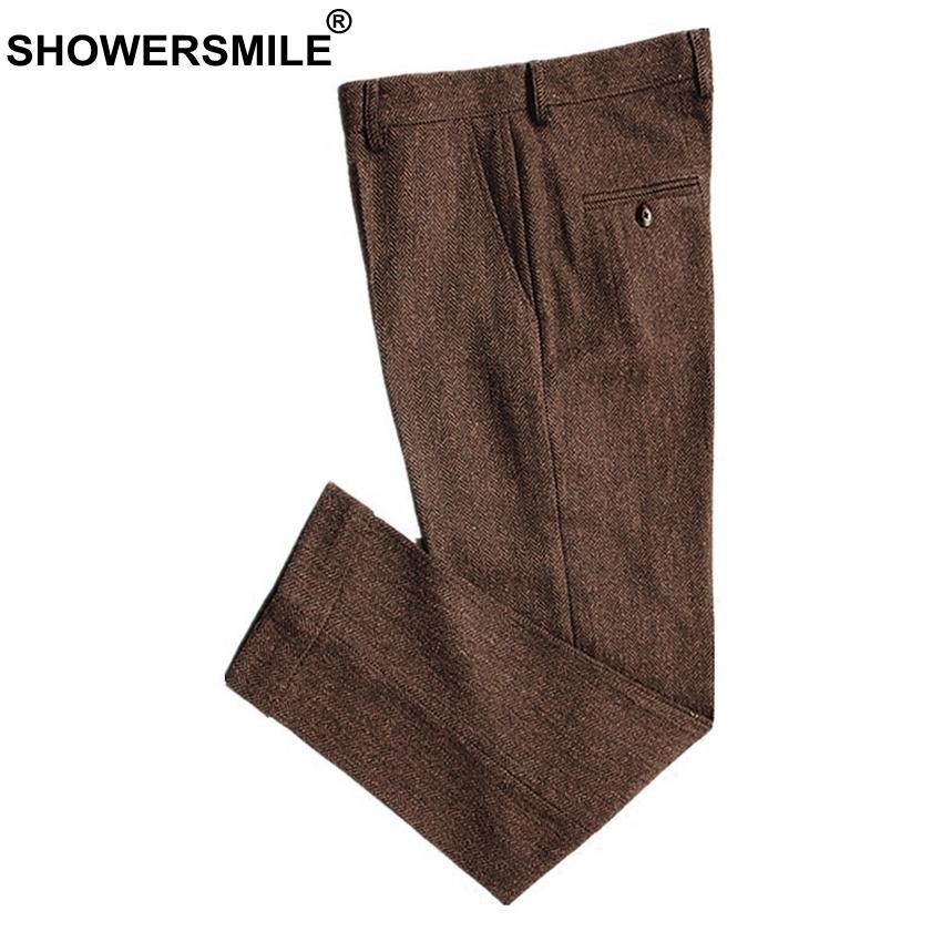 Showersmile Classic Men's Pants Tweed Mens Wool Trousers Brown Woolen Thick Warm Suit Pant For Winter Slim Herringbone Man Pants J190420